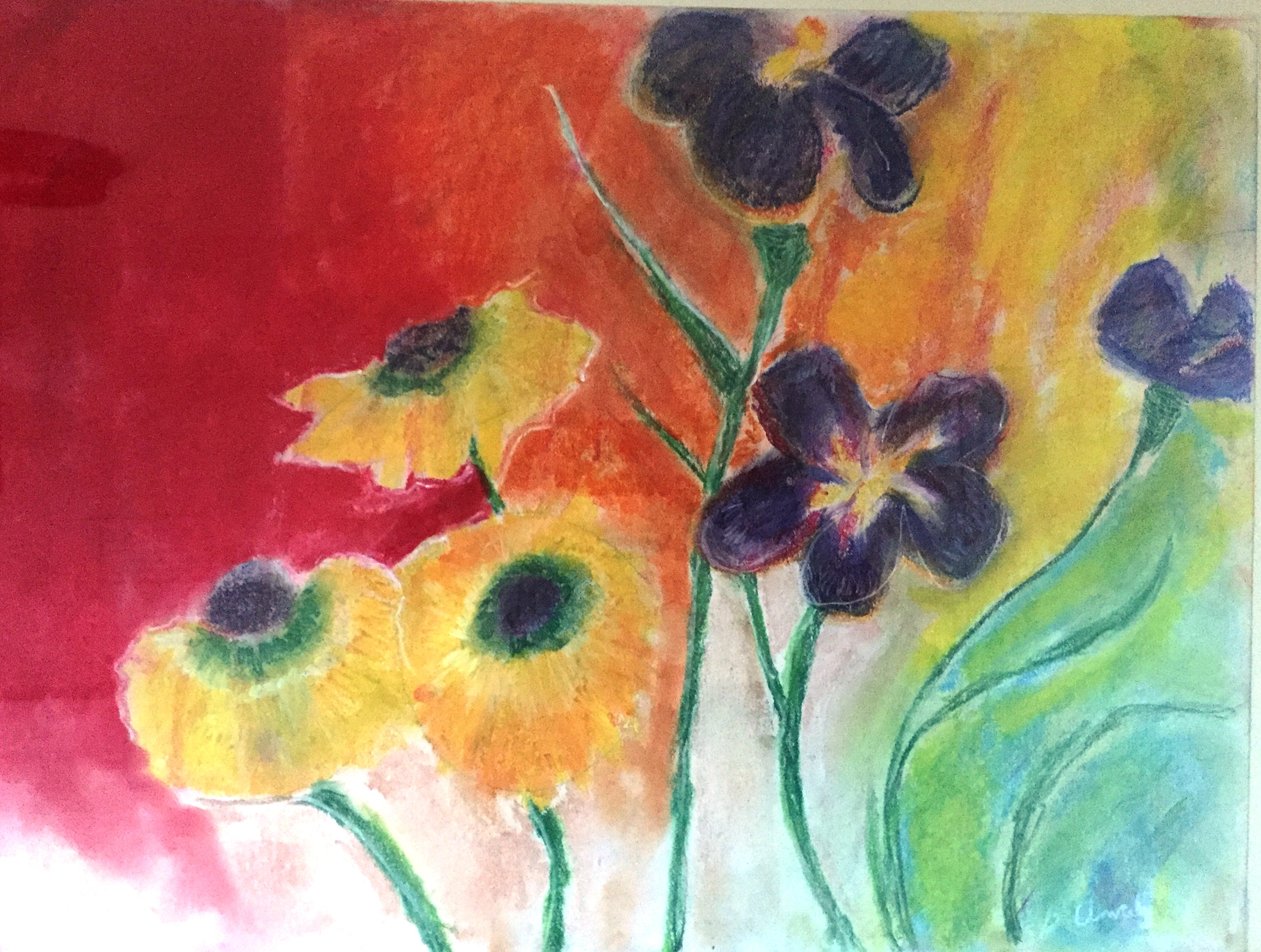 This beautiful painting of flowers opening into the sun was given to me by a former client. Once so depressed that she could hardly get out of bed, her depression lifted and she began to paint again. This very special piece reminds me of the capacity of the human soul to heal.